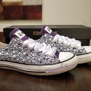 ec666a3b9898 Converse Shoes - Purple Low Top Women s Converse Custom Blinged